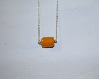 Sterling Silver chain with Butterscotch Jade Pendant