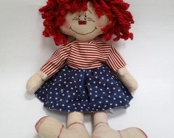 primitive raggedy Americana doll, primitive doll, raggedy doll, doll lover gift, rag doll, patriotic doll, 4th of July doll, prim raggedy