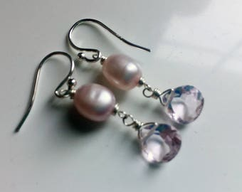 Morganite Quartz and Pink Pearl, Double Dangle Earrings, sterling silver, gift idea, birthday gift