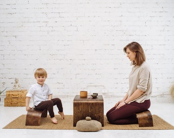 Hand Crafted Tea Table KIT- ZenWork. 1 Table + 2 Benches