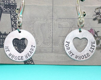 My Whole Heart for My Whole Life Key Chain Pair - Disc Heart Cut Out - Hand Stamped Key Ring - Gift for Couples