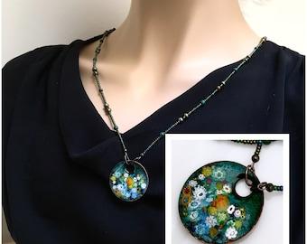 Enamel Jewelry, Enameled Copper Pendant On Beaded Chain, Impressionistic Colorful Garden on Green, Kiln Fired Glass Enamel Long Beaded Chain