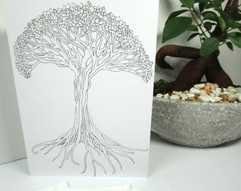 Coloring card tree 5x7 greeting card with envelope, tree of life