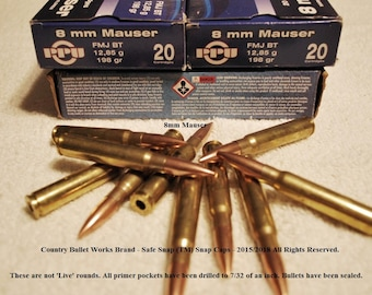 8 x 57 - 8mm Mauser Brass MJ/FMJ Bullets – CBW Safe Snap ™