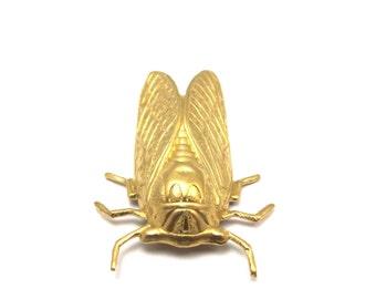 Large Brass Cicada Charms (2X) (M745)