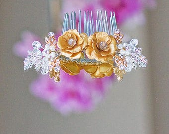 Rose Flower Bridal Headpiece Hair Comb Accessories Hairslide Cocktail Hair Accessories
