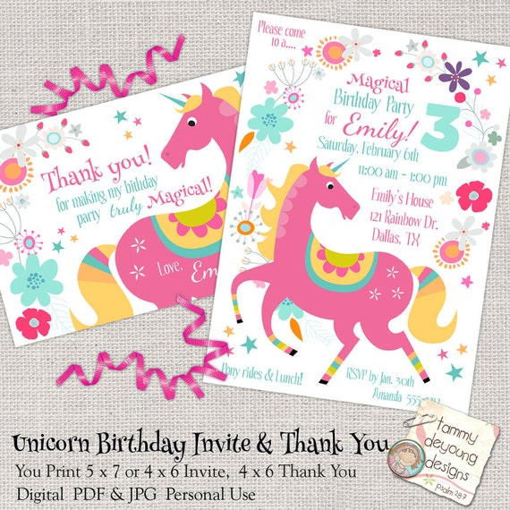 Unicorn birthday party invitation girls birthday party evite unicorn birthday party invitation girls birthday party evite printable invite for kids magical unicorn party thank you note pink pony stopboris Image collections