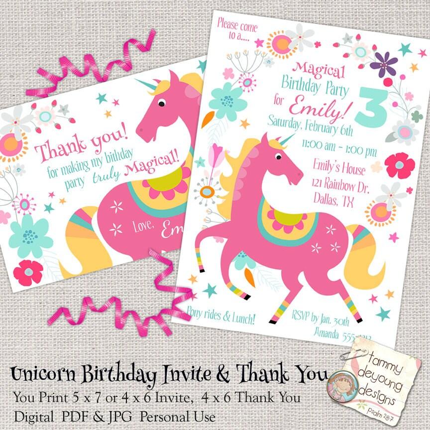 Unicorn Birthday Party Invitation Girls Birthday Party Evite