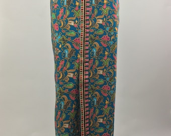 Vintage Mohan's of Singapore Full Length Skirt with Vibrant Print| Size 12 Large