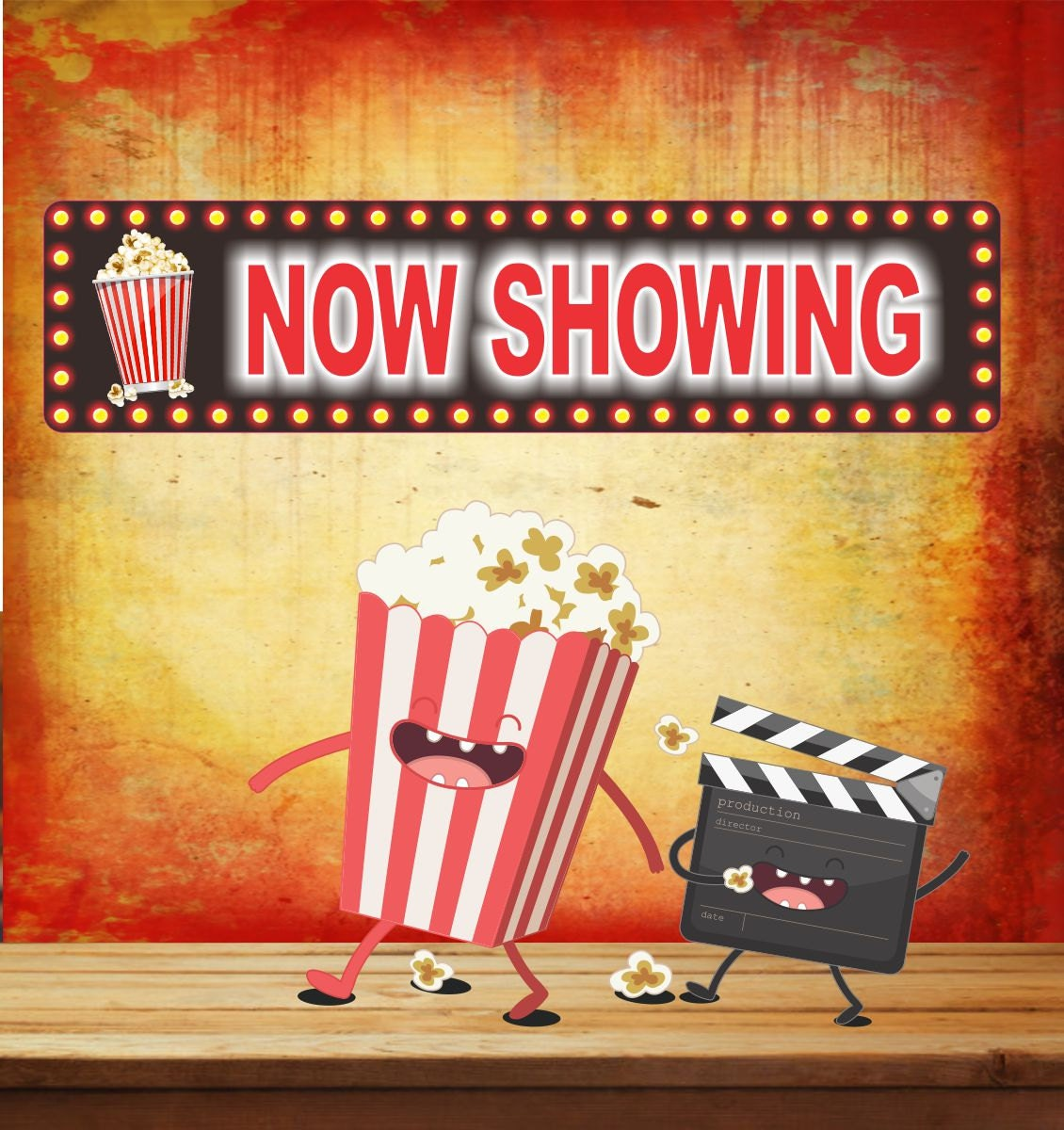 Novelty Home Movie Theater Now Showing Sign with Popcorn or