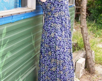 80s, Floral, Dress, Blue, Rayon, sleeveless, maxi, summer, size S / M