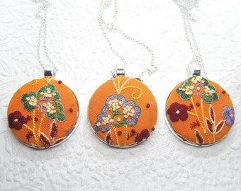 Orange embroidered necklace, floral necklace for women, girls trip accessory, pendant measures 1 7/8 inches