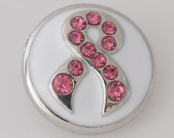 Get Snappy! Pink Rhinestone Breast Cancer Ribbon Snap Button