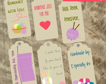 Printable Knitting Themed Gift Tags with Care Instructions