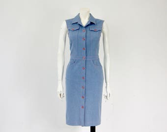 ESCADA Vintage Embroidered Sequin Floral Applique Bodycon Denim Dress With Glass Buttons