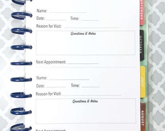 Doctor Visit Tracker, Visit Log, Doctor Notes, Doctor Visit Inserts for Medium, Classic Happy Planner, Discbound Planner
