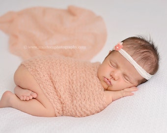 Coral Pink Peach Mohair Knit Baby Wrap Newborn Photography