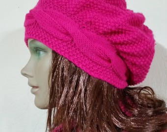 Pink Knitted Hat, Fuchsia, Cable Knit Hat, Women's Hat, Gift for Wife, Knitted Hats for Women, Wife Gift, Moms Gift Hat, Slouch Beanie, Gift