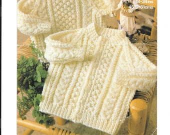 PDF pattern for an Aran jumper and cardigan to fit 18-24 ins 9mths - 4 years