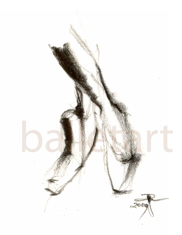 Popolare Scarpe da punta balletto arte disegno arte stampa bianco e ET86
