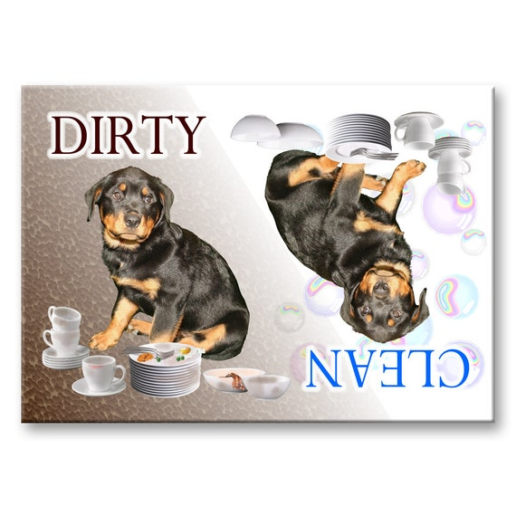 Rottweiler Clean Dirty Dishwasher Magnet No 1