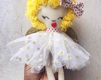 Christmas fairy tree topper, Christmas decoration, rag doll, fabric doll, Christmas Angel, xmas  ornaments, personalized doll, glitter tutu