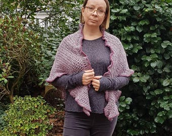 Warm mauve ladies shawl, wrap, stole. Hand crocheted in aran-weight yarn, with gently frilly edge