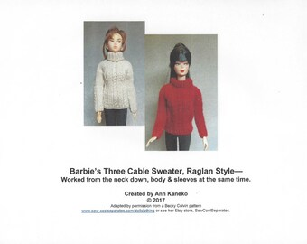 3-Cable Sweater Knitting Pattern for Barbie and similar dolls