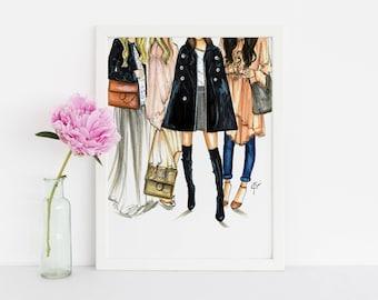 FRIEND-ly Fashion (Fashion Illustration Print) (Fashion Illustration Art - Fashion Sketch prints - Home Decor - Wall Decor )