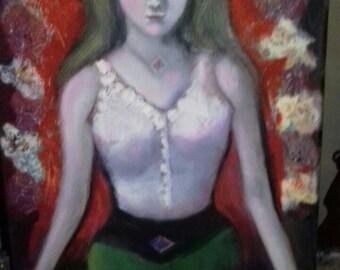 Girl meditating 35*50 cm, unique original oil painting on canvas by Kiki Papadatou