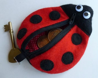 Printable Pattern - Ladybug Key Chain Coin Purse Bag Wristlet - Instant PDF Sewing Pattern Download Downloadable Tutorial