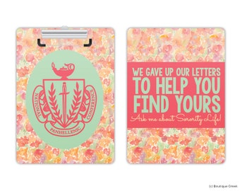 NPC Panhellenic We Gave Up Our Letters Floral Watercolor Sorority Clipboard