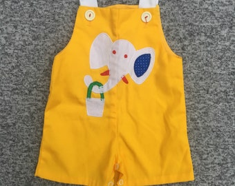 Vintage Baby Yellow White Elephant Overall Romper