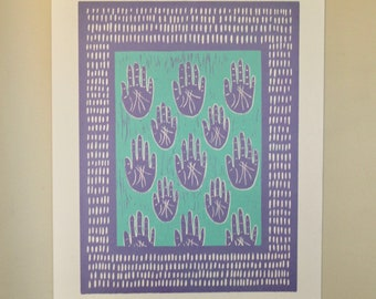 My own two hands | woodcut relief print |