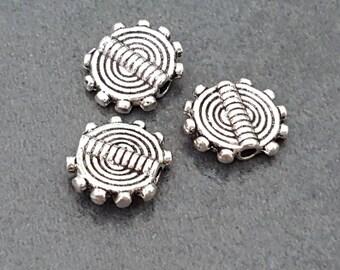 set of 25 speed 9 mm Tibetan silver beads