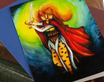 Cheetah Cat Art, 5x7 Greeting Card, Fantasy Warrior Maiden with Sword