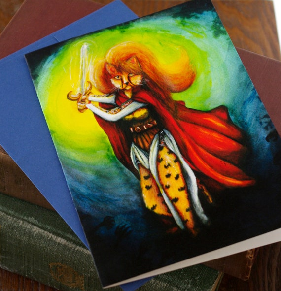 Cheetah Warrior Maiden 5x7 Greeting Card
