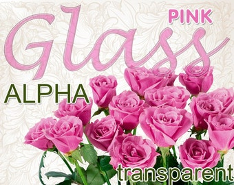 Digital Pink Glass transparent Alphabet for scrapbooking, clipart, Mother's Day gift, Papercrafts, Wedding Decor, Instant Download, #58