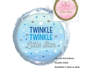 Twinkle Little Star Boys Balloon in light blue and silver, Baby Shower Decorations, 18 inch, Gender Reveal Party, Its A Boy, First Birthday