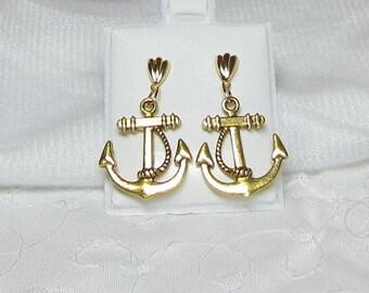 Nautical Anchor Earrings on Gold Tone Seashell Ear Post