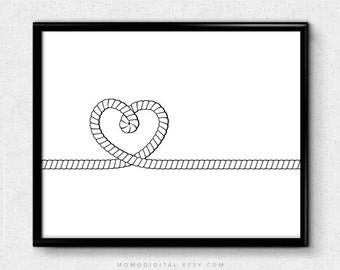 SALE -  Heart Rope, Black White, Modernism, Contemporary, Heart Print, Nursery, Baby Nursery, Dorm, Housewarming, Anniversary, Wedding