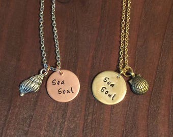 Sea Soul Necklace, Sea Shell Necklace, Brass Pendant Necklace, Beach Jewelry, Hand Stamped Necklace, Hand Stamped Jewelry