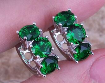 Simulated Emerald Green Huggie Hoop Silver Earrings