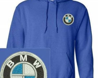 Bmw Logo Emboidered Hoodie Royal Blues Pullover Hooded Sweatshirt New