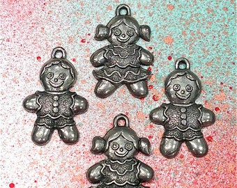 Gingerbread Boy and Girl Charms--4 pieces-(Antique Pewter Silver Finish)--style 1006-