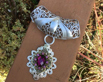 Scarf jewelry with silver, brass, pink crystal and jewel colred glass crystal.