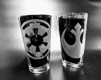 Etched Imperial ,  Rebel  or  Mandalorian Glasses