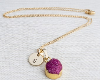 Gold Initial Necklace & Bright Purple Druzy Gem, Druzy Necklace, Personalised Jewellery, Bridesmaid Necklace, Personalised Gift