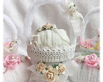 Spring Easter BASKET Cream Chenille EGG chic Shabby cottage ECS