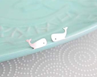 Sterling Silver Whale Earrings / whale studs / gifts for her / stocking filler / 925 / hypoallergenic / sealife / whale gifts